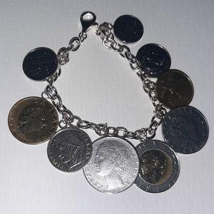 Sterling Italian Coin Charm Bracelet